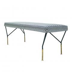 Mid Century Modern Italian Black Lacquered Iron Brass Footstool - 1087703