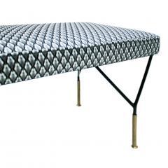 Mid Century Modern Italian Black Lacquered Iron Brass Footstool - 1087706