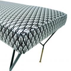 Mid Century Modern Italian Black Lacquered Iron Brass Footstool - 1087707