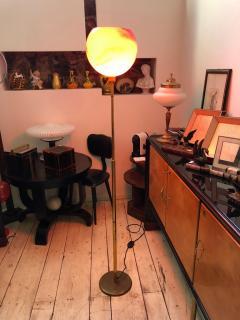 Mid Century Modern Italian Brass and Red Glass Floor Lamp circa 1950 - 790489