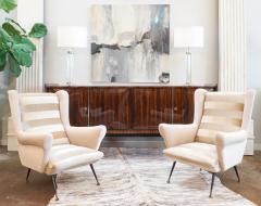 Mid Century Modern Italian Striped Velvet Armchairs - 756227