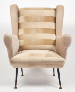 Mid Century Modern Italian Striped Velvet Armchairs - 756228