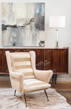 Mid Century Modern Italian Striped Velvet Armchairs - 756230