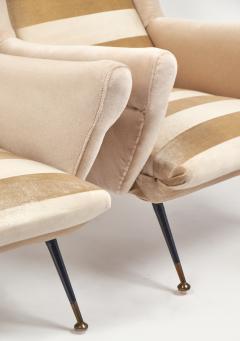 Mid Century Modern Italian Striped Velvet Armchairs - 756232