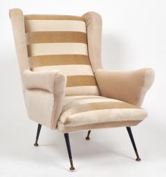 Mid Century Modern Italian Striped Velvet Armchairs - 756234