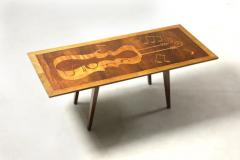 Mid Century Modern Musical Theme Marquetry Coffee Cocktail Table Brazil 1950s - 1423572