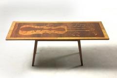Mid Century Modern Musical Theme Marquetry Coffee Cocktail Table Brazil 1950s - 1423573