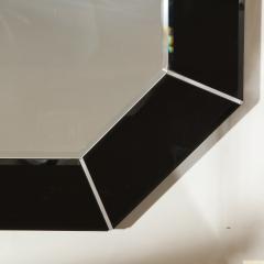 Mid Century Modern Octagonal Beveled Smoked Mirror with Brushed Aluminum Inserts - 2050517