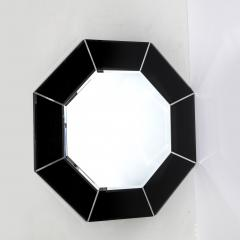 Mid Century Modern Octagonal Beveled Smoked Mirror with Brushed Aluminum Inserts - 2050521