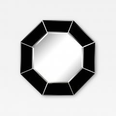 Mid Century Modern Octagonal Beveled Smoked Mirror with Brushed Aluminum Inserts - 2050798