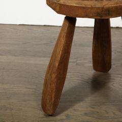Mid Century Modern Organic Brutalist Amorphic Hand Carved Walnut Stool - 1733335