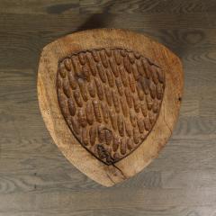 Mid Century Modern Organic Brutalist Amorphic Hand Carved Walnut Stool - 1733336