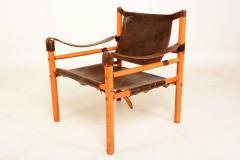 Mid Century Modern Pair Of Safari Chairs Leather Wood   371278