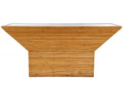 Mid Century Modern Pencil Reed Bamboo Console Table or Sofa Table with Mirror - 2058927