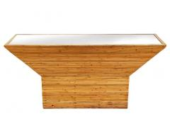 Mid Century Modern Pencil Reed Bamboo Console Table or Sofa Table with Mirror - 2058930