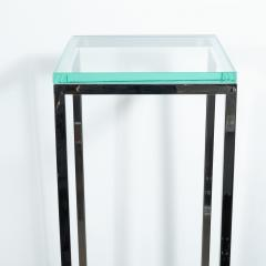 Mid Century Modern Rectilinear Open Frame Polished Chrome and Glass Pedestal - 1559969