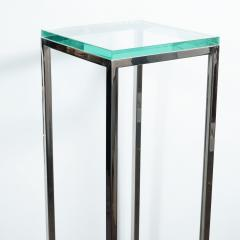 Mid Century Modern Rectilinear Open Frame Polished Chrome and Glass Pedestal - 1559970