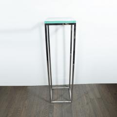 Mid Century Modern Rectilinear Open Frame Polished Chrome and Glass Pedestal - 1559979
