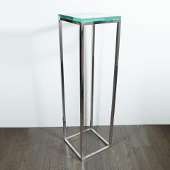 Mid Century Modern Rectilinear Open Frame Polished Chrome and Glass Pedestal - 1559980