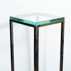 Mid Century Modern Rectilinear Open Frame Polished Chrome and Glass Pedestal - 1559991