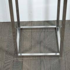 Mid Century Modern Rectilinear Open Frame Polished Chrome and Glass Pedestal - 1559995