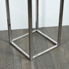 Mid Century Modern Rectilinear Open Frame Polished Chrome and Glass Pedestal - 1560002
