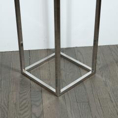 Mid Century Modern Rectilinear Open Frame Polished Chrome and Glass Pedestal - 1560007