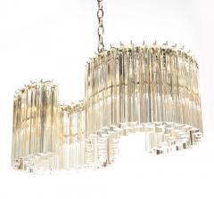Mid Century Modern S Form Translucent Handblown Murano Glass Chrome Chandelier - 2004862