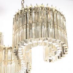 Mid Century Modern S Form Translucent Handblown Murano Glass Chrome Chandelier - 2004864