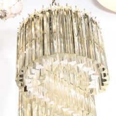 Mid Century Modern S Form Translucent Handblown Murano Glass Chrome Chandelier - 2004882