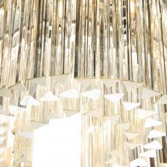 Mid Century Modern S Form Translucent Handblown Murano Glass Chrome Chandelier - 2004883
