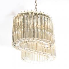Mid Century Modern S Form Translucent Handblown Murano Glass Chrome Chandelier - 2004884