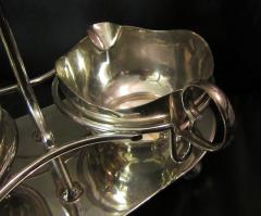 Mid Century Modern Silverplate Sugar and Creamer in Rack Holder EPNS - 1178726