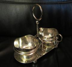 Mid Century Modern Silverplate Sugar and Creamer in Rack Holder EPNS - 1178727