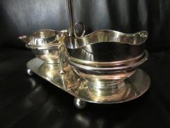 Mid Century Modern Silverplate Sugar and Creamer in Rack Holder EPNS - 1178730