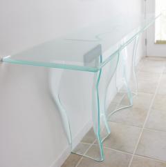 Mid Century Modern Slump Glass Console Foyer Table By Artist Laurel Fyfe    165327
