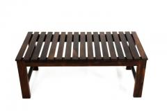 Mid Century Modern Small Rosewood Slatted Bench Brazil 1960s - 1683626