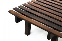 Mid Century Modern Small Rosewood Slatted Bench Brazil 1960s - 1683630