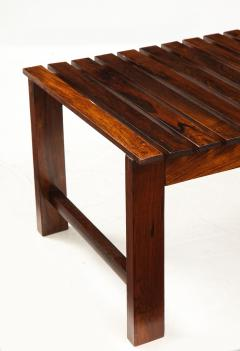 Mid Century Modern Small Slatted Bench in Wood Brazil 1960s - 2045885