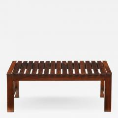 Mid Century Modern Small Slatted Bench in Wood Brazil 1960s - 2049350