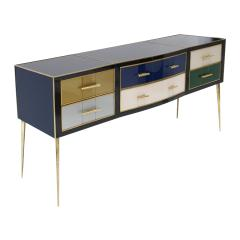 Mid Century Modern Solid Wood and Colored Glass Italian Sideboard - 2087819