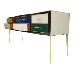 Mid Century Modern Solid Wood and Colored Glass Italian Sideboard - 2087820