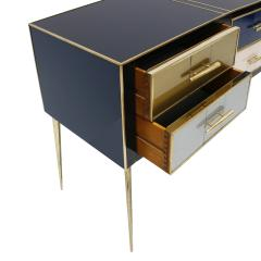 Mid Century Modern Solid Wood and Colored Glass Italian Sideboard - 2087821