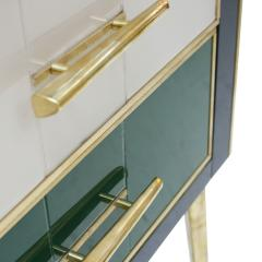 Mid Century Modern Solid Wood and Colored Glass Italian Sideboard - 2087822