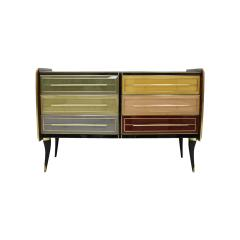 Mid Century Modern Solid Wood and Colored Glass Italian Sideboard - 2087876