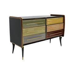 Mid Century Modern Solid Wood and Colored Glass Italian Sideboard - 2087878