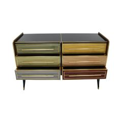 Mid Century Modern Solid Wood and Colored Glass Italian Sideboard - 2087879
