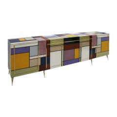 Mid Century Modern Solid Wood and Colored Glass Italian Sideboard - 2097350