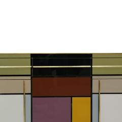 Mid Century Modern Solid Wood and Colored Glass Italian Sideboard - 2097352