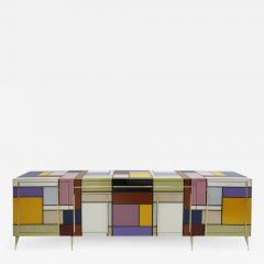 Mid Century Modern Solid Wood and Colored Glass Italian Sideboard - 2098366